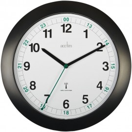 Milan Radio Controlled Black Wall Clock 25.5cm
