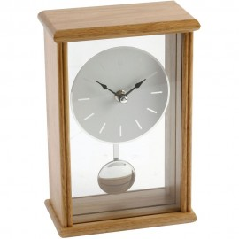 Oblong Large Oak Finish Pendulum Mantel Clock Batton Dial 14.2cm