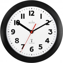 Parona Black Radio Controlled Wall Clock 23cm