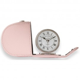 Lascelles Alarm Clock In Pink Leather Travel Case 6cm