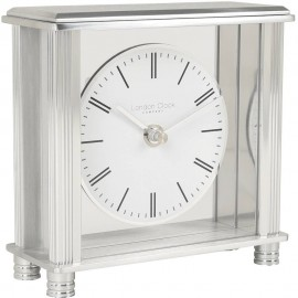 Square Silver Mantel Clock 14cm