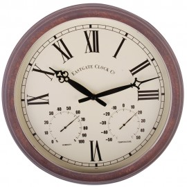 Roman Numeral Thermometer & Outdoor Wall Clock 38cm