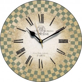 Sage French Check Wall Clock 28.5cm