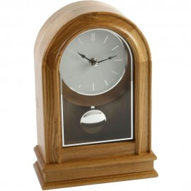 Light Oak Finish Arched Pendulum Mantel Clock Batton Dial 17.5cm