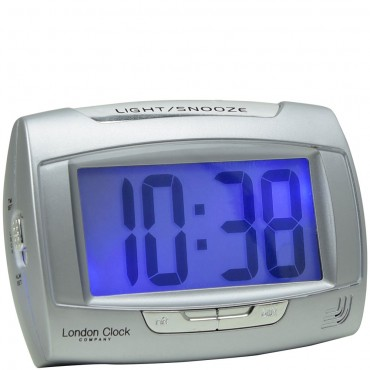 Rectangle Silver Digital Alarm Clock 10.5cm