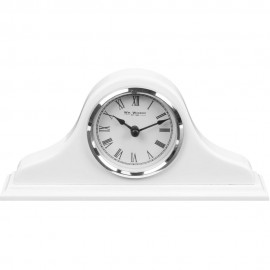 High Gloss White Napoleon Mantel Clock 25cm