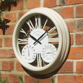 Exeter Cream Outdoor Wall Clock with Thermometer 38cm