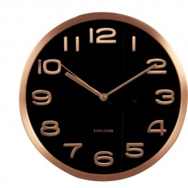 Maxie Copper Numbers Black Wall Clock 29cm