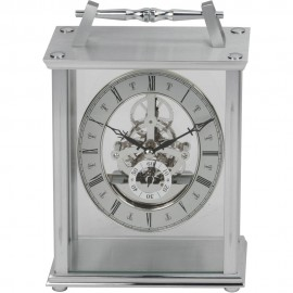 Silver Skeleton Movement Mantel Clock 20cm