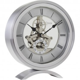 Round Silver Skeleton Mantel Clock 15.5cm