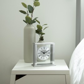 Silver Flat Top Mantel Clock 15.5cm