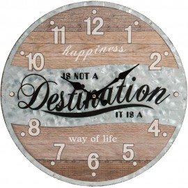 Woodplank Eff & Metal Wall Clock Destination 40cm