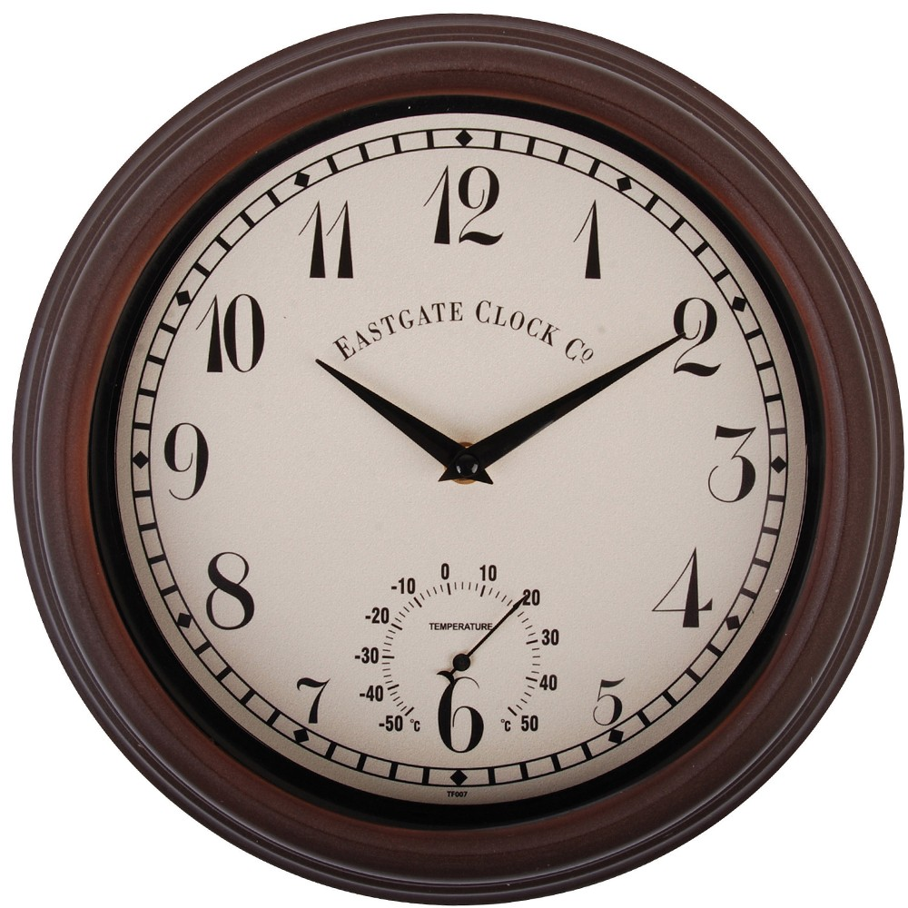 eastgate thermometer outdoor wall clock 31cm