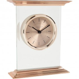 Flat Top Rose Gold Mantel Clock 18cm