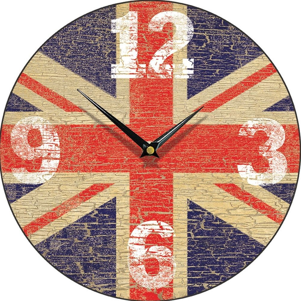 Vintage union jack wall clock 285cm amipublicfo Images
