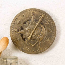 Sun & Moon Outdoor Wall Clock with Thermometer 30cm