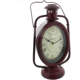 Metal Mantel Clock - Red Carriage Lamp Roman Dial 18cm