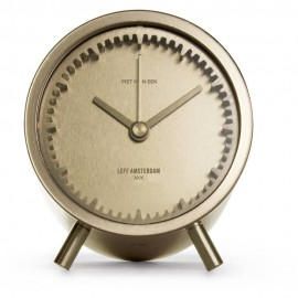Brass Plated Steel Tube Table Clock 8cm