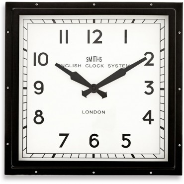 Smiths Square Black Wall Clock 41cm