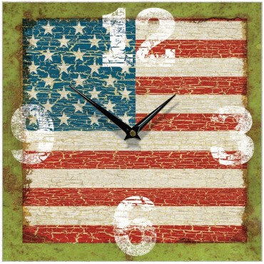 Antique Usa Flag Wall Clock 28.5cm