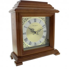 Walnut Effect Mantel Clock Bracket Style 28cm