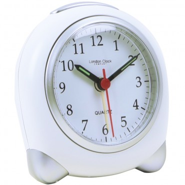 Small White/Silver Analogue Alarm 9cm