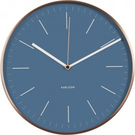 Minimal Jeans Blue Wall Clock With Copper Case 27.5cm