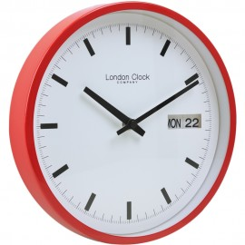 Red Day Date Wall Clock 25 cm