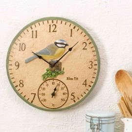 Blue Tit Outdoor Wall Clock with Thermometer 30cm