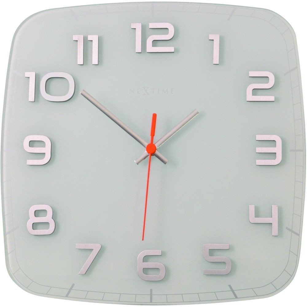 Classy white square wall clock 30cm for Square wall clocks uk