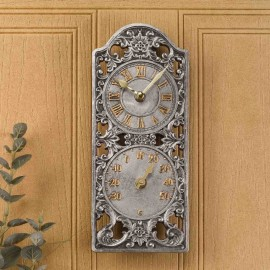 Westminster Outdoor Wall Clock with Thermometer 30cm