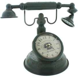 Metal Mantel Clock - Old Fashioned Telephone 31cm