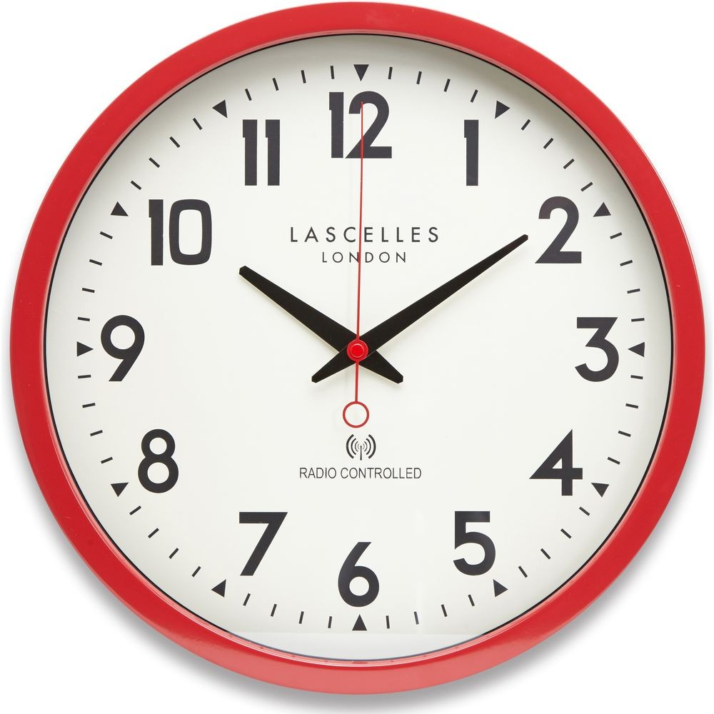 red radio controlled wall clock 38cm