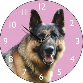 Pink Alsation Wall Clock 28.5cm