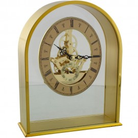 Gold Finish Arched Mantel Clock Quartz Skeleton Dial 19.5cm
