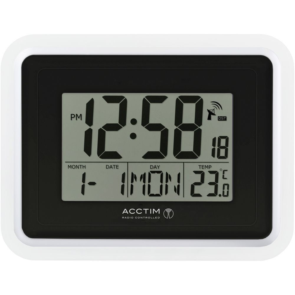 delta radio controlled digital wall clock 22cm. Black Bedroom Furniture Sets. Home Design Ideas