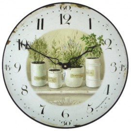 herb pots wall clock 36cm - Kitchen Clock