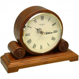Qtz Mantel Clock Round Double Scroll - Walnut 19cm