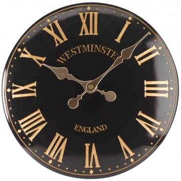 Westminster Tower Black Outdoor Wall Clock 38cm