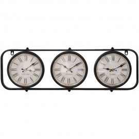 Metal Wall Clock 3 Time Zones 74cm