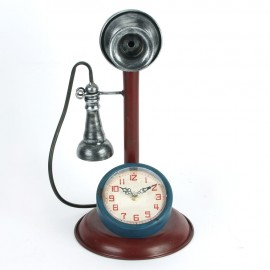 Metal Mantel Clock - Retro Telephone 37cm