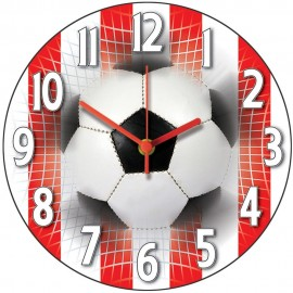 Red & White Stripes Football Wall Clock 28.5cm
