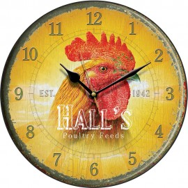 Hall's Poultry Feed Cockerel Wall Clock 28.5cm