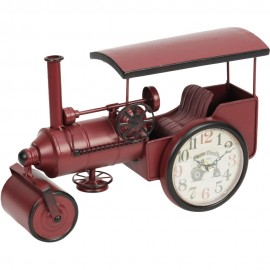 Mantel Clock Red Steam Roller 32cm