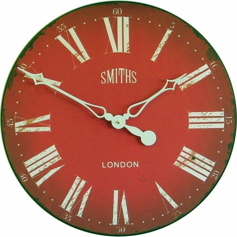 Roger lascelles wall clocks smiths antique red wall clock 50cm amipublicfo Gallery