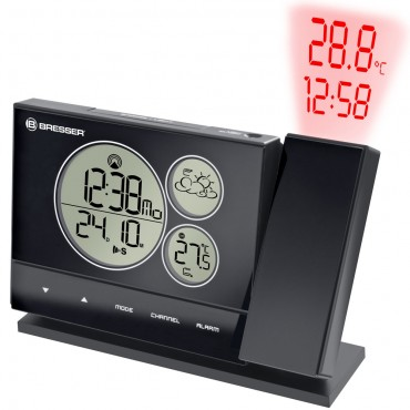 Bresser Radio Controlled Projection Alarm clock with Weather Forecast 18.2cm