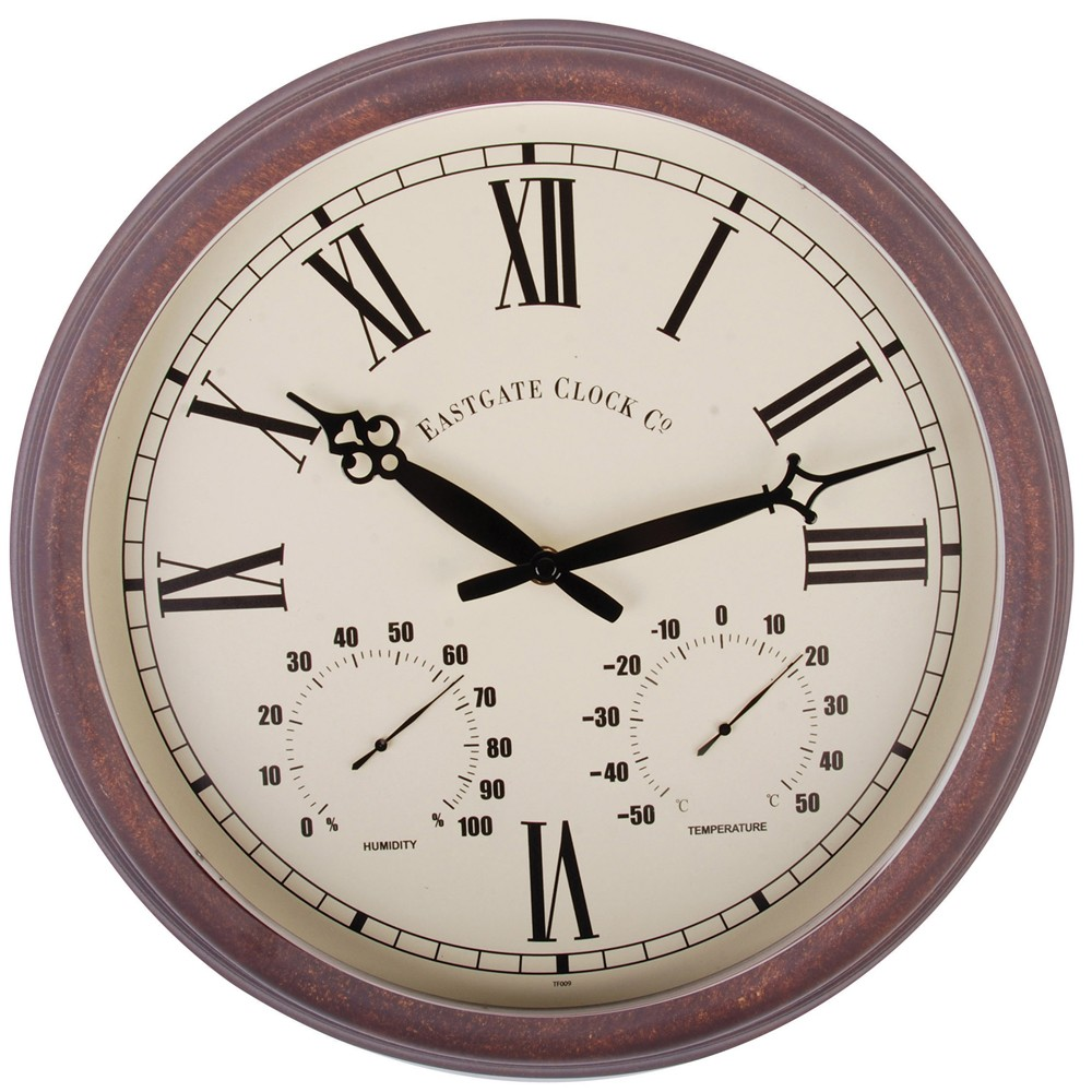 Roman Numeral Thermometer Amp Outdoor Wall Clock 38cm