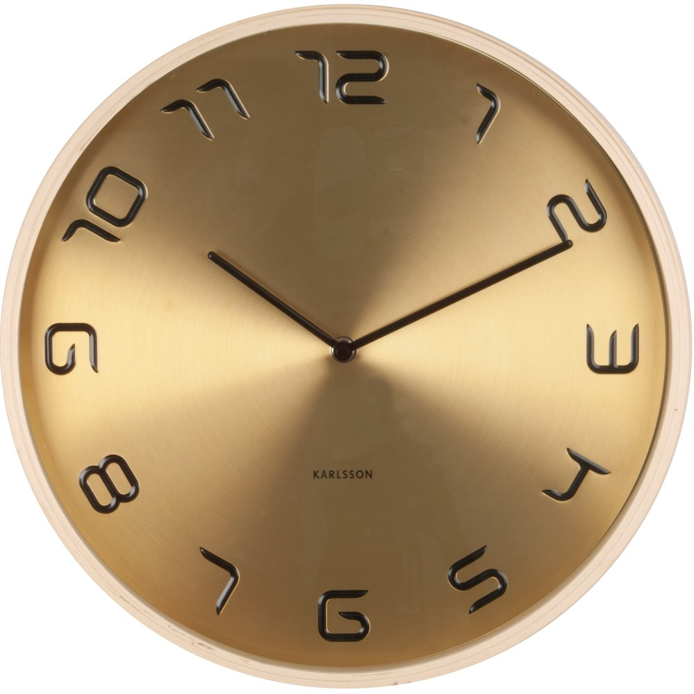 gold embossed wood wall clock 35cm. Black Bedroom Furniture Sets. Home Design Ideas