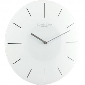 White Glass Wall Clock 35cm