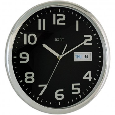 Supervisor Day & Date Black Wall Clock 32cm